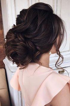 elstile wedding hairstyles low updo with loose curls dark hair elstilespb
