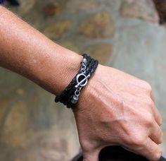 Black Leather Wrap bracelet, mens