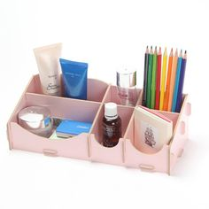 niceeshop(TM) 6 Compartments Wooden Home Office DIY Desk Cosmetic Storage Organizer Pen Container(light Blue,L)