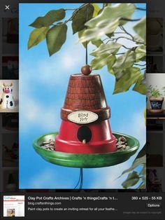 Clay pot bird feeder
