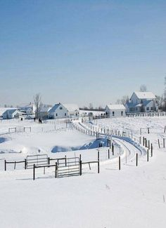 Snow Covered Fields - Town / Farm