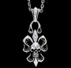 Jewelry & Watches Able Royalty Collection Sterling Silver Skull Fleur De Lis Scroll Pendant Other Fine Jewelry