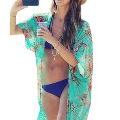 15ec0591a6 Summer Floral Chiffon Beach Cover Up. Bikini ...