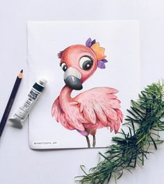 how to draw cute Cute Animal Drawings, Pencil Art Drawings, Colorful Drawings, Easy Drawings, Art Sketches, Flamingo Illustration, Watercolor Illustration Children, How To Draw Flamingo, Flamingo Art
