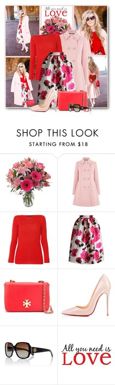"""All You Need is Love"" by brendariley-1 ❤ liked on Polyvore featuring Oasis, Les Copains, Chicwish, Tory Burch, Christian Louboutin, WallPops, women's clothing, women, female and woman"