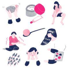 Japanese Illustration: Coconut Oil Skin Care. Yu Fukagawa. 2015