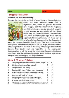 Shopping Then Now - English ESL Worksheets for distance learning and physical classrooms Reading Comprehension Activities, Reading Worksheets, Reading Passages, Vocabulary Activities, Preschool Worksheets, Educational Activities, English Teaching Materials, Teaching English, Learn English