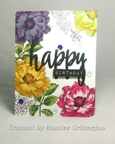 Almost one Layer Masked Birthday Flowers by rorlanzino - Cards and Paper Crafts at Splitcoaststampers
