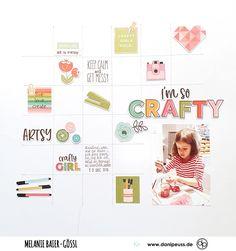 Scrapbooking Layout mit dem Februarkit | von Melanie Baier-Gössl für www.danipeuss.de #danipeuss #scrapbooking #memorykeeping #papercrafting #basteln Scrapbooking Layouts, Crafty, Inspiration, Paper, Home Decoration, February, Projects, Cards, Ideas