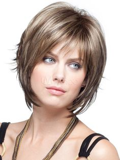 [$23.99 - 40%OFF] Light Brown Straight Fashion Short Wig For Woman