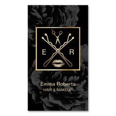 Makeup & Hair Stylist Elegant Dark Floral Beauty Standard Business Card