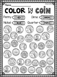 Awesome identifying coins (pennies, nickels, dimes, quarters) worksheets centers and money activities that are all differentiated