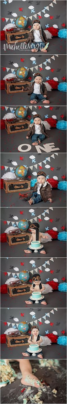 Michelle Voigt Photography - Cake Smash http://www.mvoigtphotography.com Aviator Cake Smash Bryan/College Station Photographer #mvoigtphoto #aviator