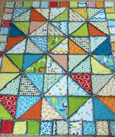 (7) Name: 'Quilting : Half Square Triangle Rag Quilt on Craftsy, pattern is $7.10C