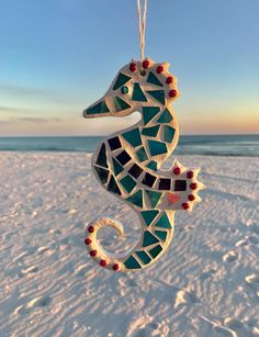 Stained Glass Mosaic Seahorse Beach Ornament by BlueOceanGlass