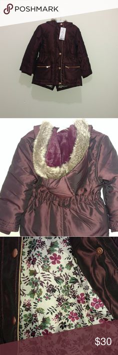 Girls F&F maroon puffy winter coat size 5 NWT Girls F&F maroon puffy winter coat size 5 NWT   Super cute girls coat! I can't get my daughter to wear it since she didn't pick it out! Never worn! Outer 100% acrylic, fake fur 45% polyester 32% modacrylic 23% acrylic, padding 100% polyester. Height 43.5 in, chest 23 in. Machine washable F&F Jackets & Coats Puffers
