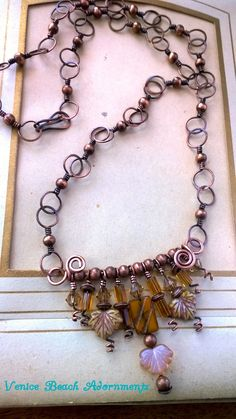 handwrapped copper chain w/ Swaroski leaves