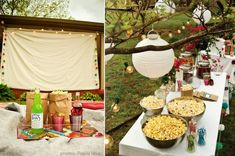 outdoor movie night shindig party idea concession stand popcorn bar