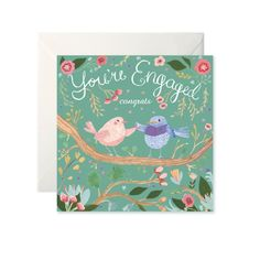 Engagement Lovebirds Card by Helen Magee Hairy Fruit Art Engagement Cards, Fruit Art, Love Birds, Gouache, Card Stock, Greeting Cards, Messages, Illustration, Prints
