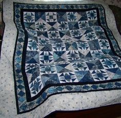 Single Bed Quilt  Blue Harmony by gmapquilts on Etsy, $205.00