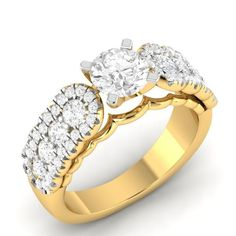 1.34 CT Round Genuine Diamond Engagement Solitaire Ring In Solid 10K Yellow Gold #Vijisan #Flower