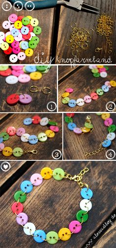DIY easy #colorful button bracelet. the blog in deutsch, you can simply make it with this picture but you can use google translate too :)