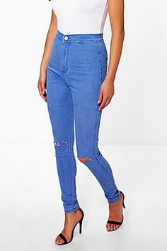 Boohoo: Lara High Rise Blue With Knee Rips