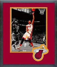 Chris Bosh Framed With Team Color Double Matting Ready To Hang- Awesome & Beautiful