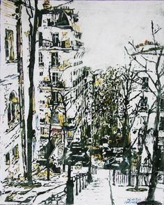 """montmartre 17.5"""" x 14""""  micheal zarowsky / mixed media (watercolour / acrylic painted directly on gessoed birch panel) / private collection"""