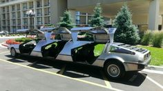 No limo on the planet more perfect for nerd special occasions than this.Made from 3 DeLoreans fused together to form a stretch limo. Apparently, it was on display recently at a DeLorean show were there where oodles of the cars gathered in one place. Before you get too upset at the thought that three perfectly good DeLoreans gave their lives for this limo, that wasn't the case. All three were salvaged from accidents, so this limo actually gave them all a new life. Lamborghini, Dmc 12, Strange Cars, Car Travel, Time Travel, Back To The Future, Exotic Cars, Custom Cars, Pickup Trucks