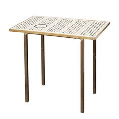 tile table with brass frame