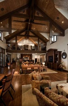 Visually, log homes tend to separate into two broad options. One is the historic style with dovetail corners and Chinking, that you see on our 50 Incredible Log Cabin Homes Modern Design Ideas page. The other, which you see on this… Continue Reading → Log Cabin Kitchens, Log Cabin Homes, Sweet Home, Family Room Design, Family Rooms, Home Fashion, Great Rooms, My Dream Home, Dream Barn