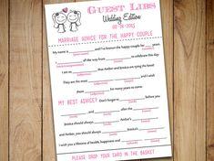 "Same Sex Wedding Mad Lib Guest Libs Wedding Game Printable - ""Sketch Couple"" Bride - Lesbian Wedding Guestbook Alternative Printable Wedding by PaintTheDayDesigns"