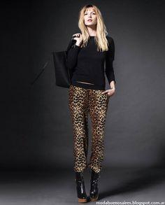 Pantalones animal print otoño invierno 2014 moda.