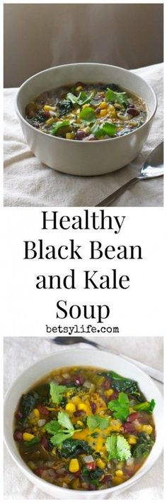 Time for a little healthy detox after all those SuperBowl snacks. Make this recipe for Vegetarian Black Bean and Kale Soup tonight for dinner.