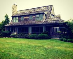 Like the way the screened porch opens to a three sides open porch and how the swooping roof works, very shingle-style