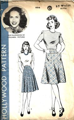 Vintage Sewing Pattern Skirt Hollywood 994