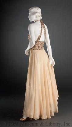 Evening Gown, Vionnet, Madeleine; 1936-1938; silk chiffon, charmeuse, embroidery floss, & glass rhinestones - See more at http://fidmmuseum.pastperfectonline.com/webobject/022D2FAC-E7A7-40DE-A731-494483333446#sthash.RTlej8gw.dpuf