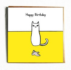 Cute And Funny Illustrated Cat BIRTHDAY Card