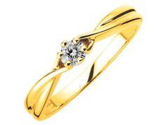 Pierścionek z żółtego złota z brylantem | Apart