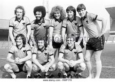 Wolves League Cup final players 1980 Andy Gray George Berry Robert Plant John Richards and Emlyn Hughes. Kenny Hibbitt Peter Daniel and Derek Parkin. - Stock Image