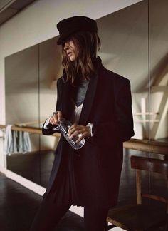 Isabel Marant Etoile F/W 2015 Lookbook // black cap, structured coat, pleated skirt & tights #style #fashion
