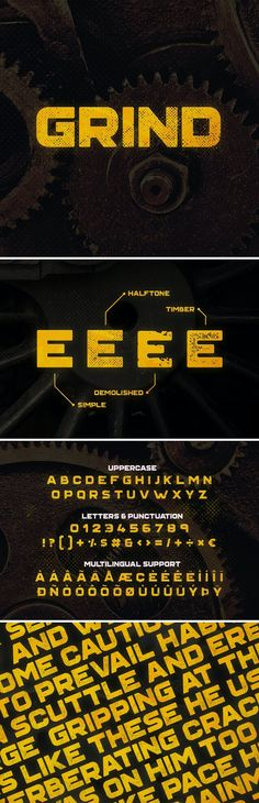 Grind Typeface by MehmetRehaTugcu | GraphicRiver Graphic Design Fonts, Font Design, Typography Design, Web Design Trends, Graphic Design Inspiration, Typeface Font, Bold Logo, Beautiful Fonts, Grunge