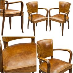 Pair of French Leather Bridge Chairs
