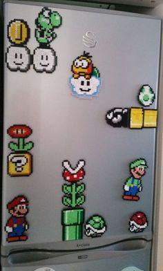 Retro Nintendo Mario Fridge Magnet Scene Hama Beads by ChillPadUK Bügelperlen Hama Beads Mario, Perler Beads, Fuse Beads, Perler Bead Templates, Pearler Bead Patterns, Perler Patterns, Yoshi, Pixel Art, Art Hama