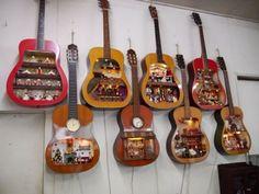 Katsuhiko Yamamoto) Crafts Dollhouses From Broken Acoustic Gui. Katsuhiko Yamamoto) Crafts Dollhouses From Broken Acoustic Guitars -- Broken acoustic guitars rebo Guitar Crafts, Guitar Diy, Music Crafts, Music Decor, Guitar Shelf, Old Pianos, Man Crafts, Guitar Tutorial, Lost & Found