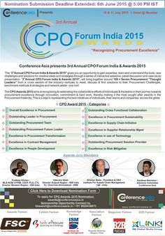 Last 10 Days to Go! Hurry your Nominations for the 3rd Annual CPO Awards 2015, Mumbai.
