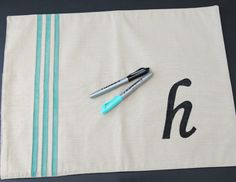 Happy-Go-Lucky: Monogram Placemat Pillow using Infinity Permanent Markers