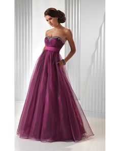 Cheap 2012 Organza New Tulle Strapless Beading A-line High Waist Prom Dress Canada Online Shop