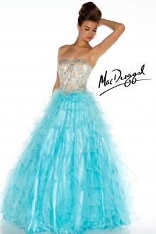 Ice Blue Ball Gown with Glimmering Rhinestones